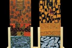 Entro un luogo di memoria - tavole autoreggenti su supporti in legno di abete naturale, olio e tecnica mista, cera d'api e foglia simil oro su tavola, cm 155x56 ogni elemento - 1999