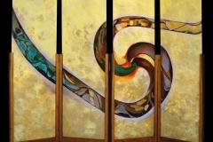 Percorso verso un'identità 1 - paravento di 4 tavole inserite su supporti in legno cm 164x435 - acrilico e olio su tavola - 1998