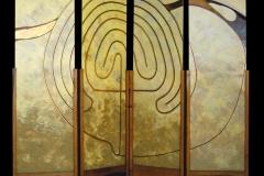 Percorso verso un'identità 2 - paravento di 4 tavole inserite su supporti in legno cm 164x435 - acrilico e olio su tavola - 1998