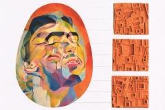 Catarsi-olio-su-tavola-cm-55x40-3-formelle-dargilla-cm-17x19-plexiglas-cm-76x90-1991