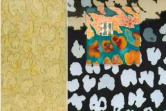 Confini - olio, collage su tela - dittico - cm. 80x40, cm.80x60 - 2005