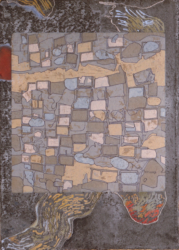 Radiografia-dellurbano-2-xilografia-a-legno-perso-su-carta-a-mano-intelaiata-olio-ricamo-cm.48x35-2001