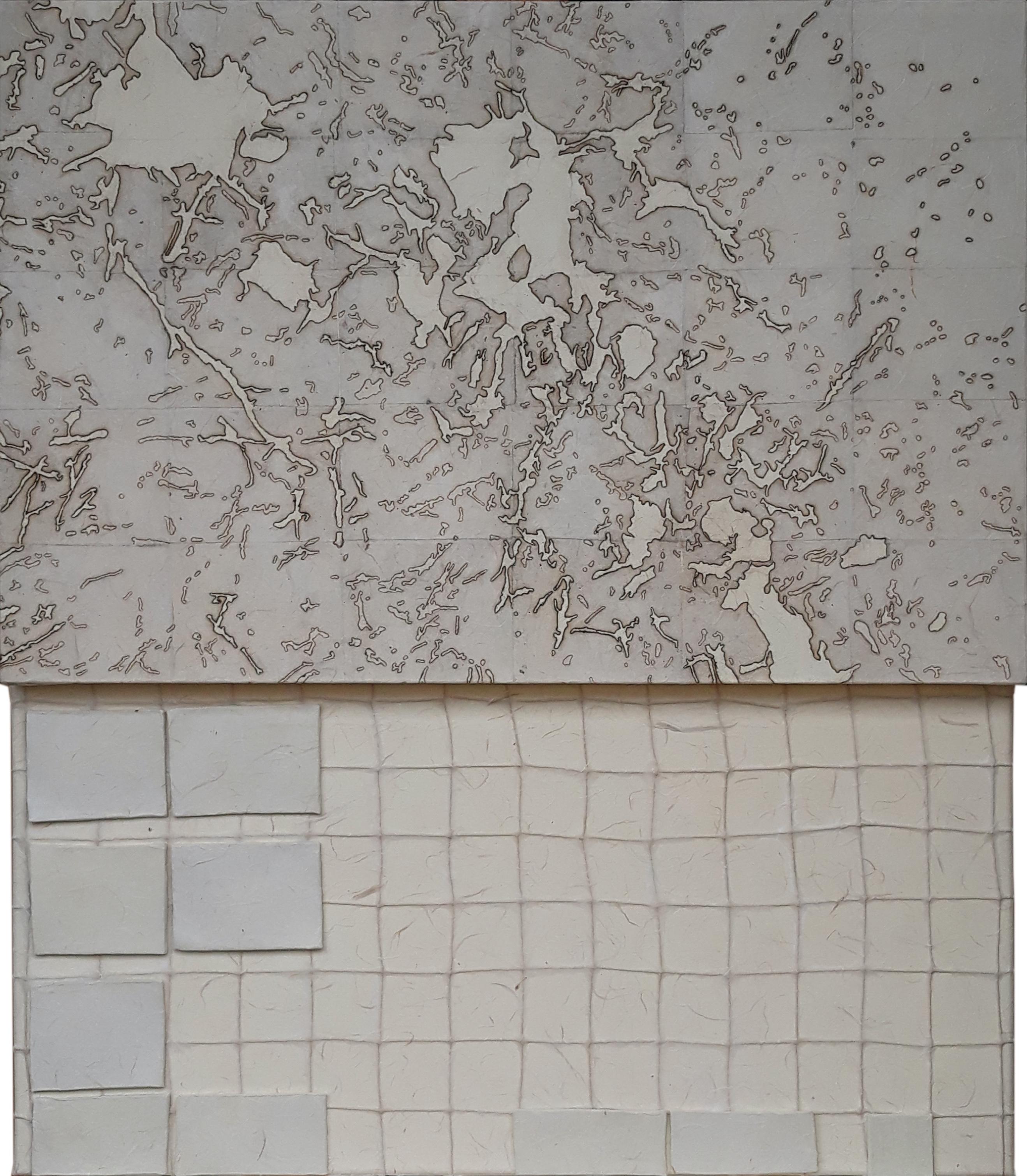 Ostraka, composizione, acrilico, creta, corda, collage su tela, cm.70x60 - 2018