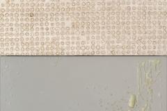 Ciò che resta del fuoco 5 - collage acrilico cera su tela - dittico cm 100x70 - 2017