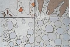 Ciò che resta del fuoco 7 - composizione, collage, acrilico su tela, cm.70x60 - 2018