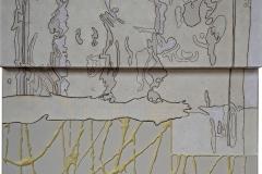 Ciò che resta del fuoco 8, composizione, acrilico, cera, collage su tela, cm.70x60 - 2018