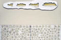 Ostrakon, composizione, acrilico, creta, cera, collage su tela, cm.70x60 - 2018