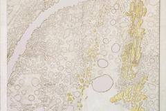 Sull'orizzonte degli eventi 3 - collage e cera su tela cm 70x90 - 2017